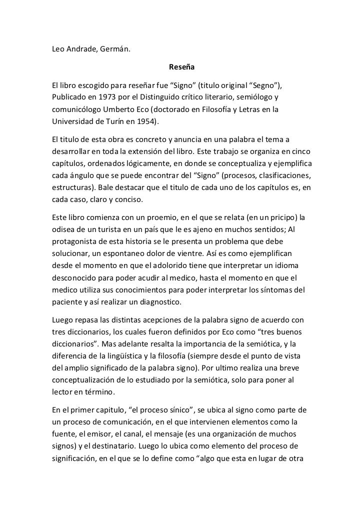 """Leo Andrade, Germán. <br />Reseña<br />El libro escogido para reseñar fue """"Signo"""" (titulo original """"Segno""""), Publicado en ..."""