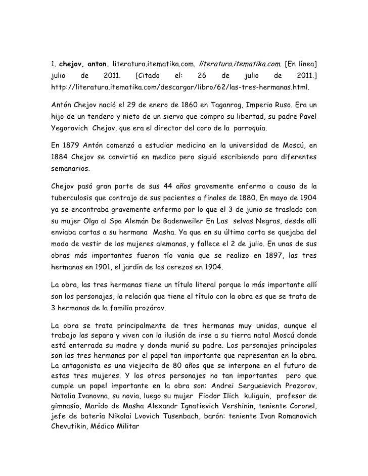BIBLIOGRAPHY  l 9226 1. chejov, anton. literatura.itematika.com. literatura.itematika.com. [En línea] julio de 2011. [Cit...