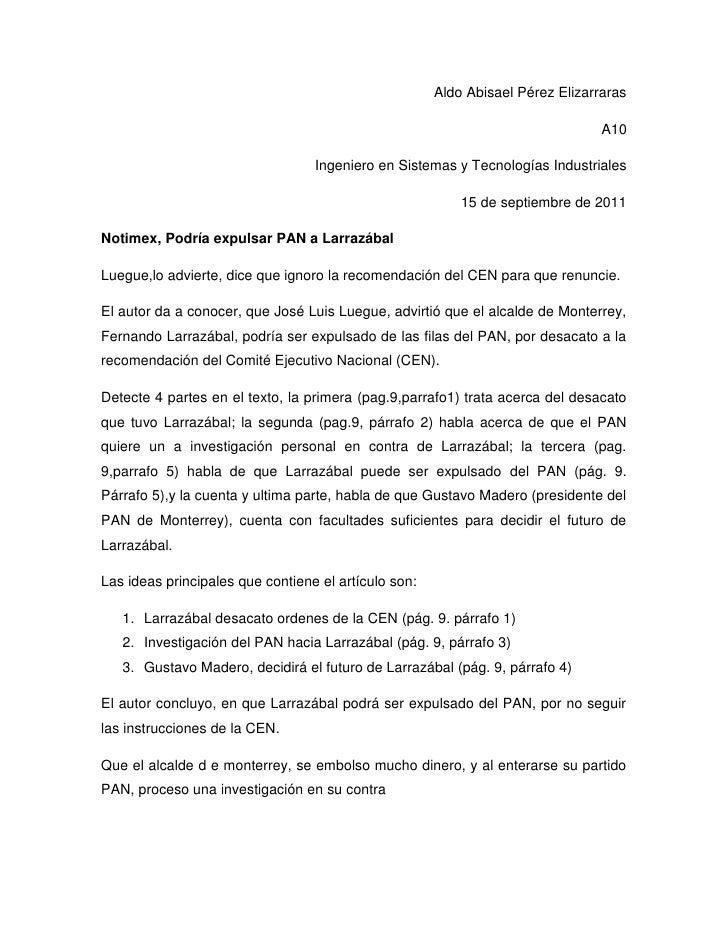 Aldo Abisael Pérez Elizarraras<br />A10<br />Ingeniero en Sistemas y Tecnologías Industriales<br />15 de septiembre de 201...