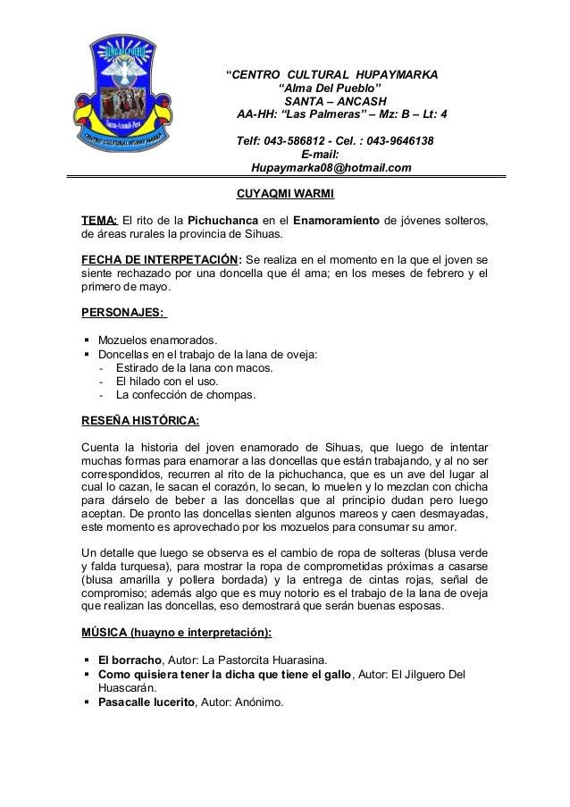 """""""CENTRO CULTURAL HUPAYMARKA """"Alma Del Pueblo"""" SANTA – ANCASH AA-HH: """"Las Palmeras"""" – Mz: B – Lt: 4 Telf: 043-586812 - Cel...."""