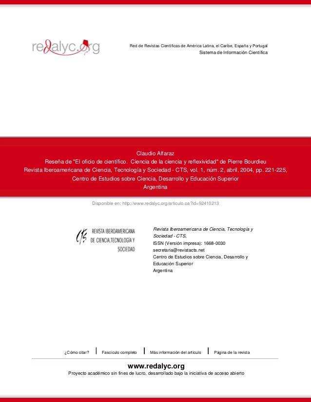 Red de Revistas Científicas de América Latina, el Caribe, España y Portugal  Sistema de Información Científica  Claudio Al...