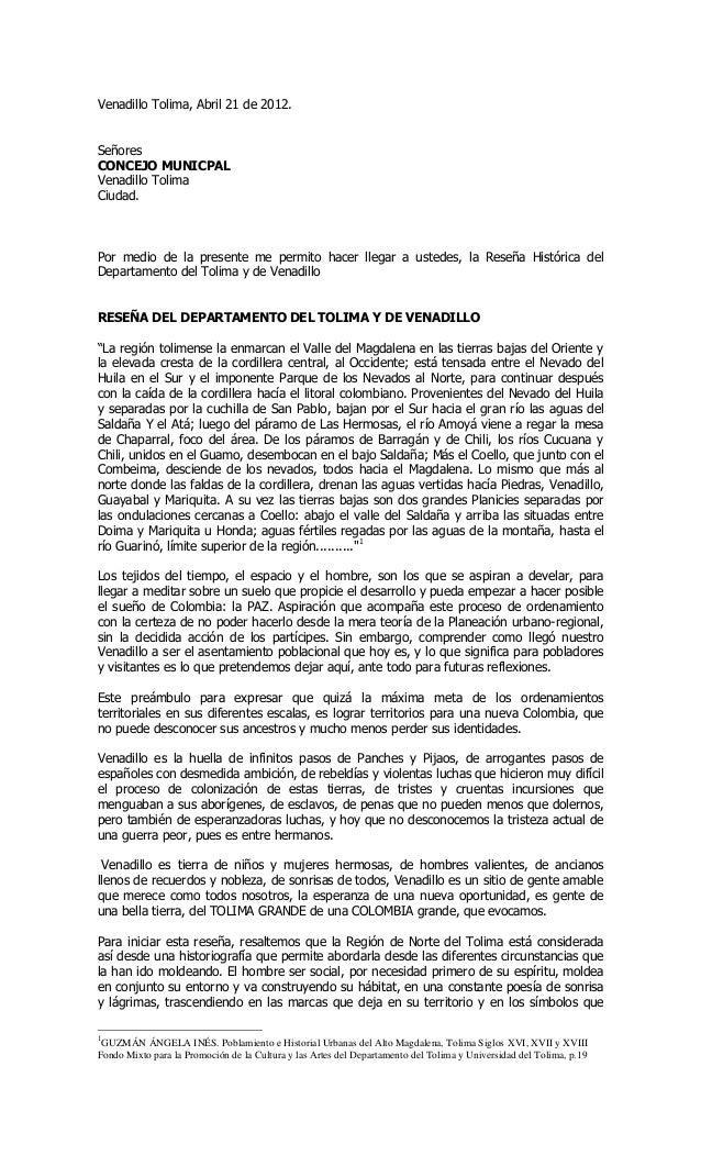 Venadillo Tolima, Abril 21 de 2012.SeñoresCONCEJO MUNICPALVenadillo TolimaCiudad.Por medio de la presente me permito hacer...