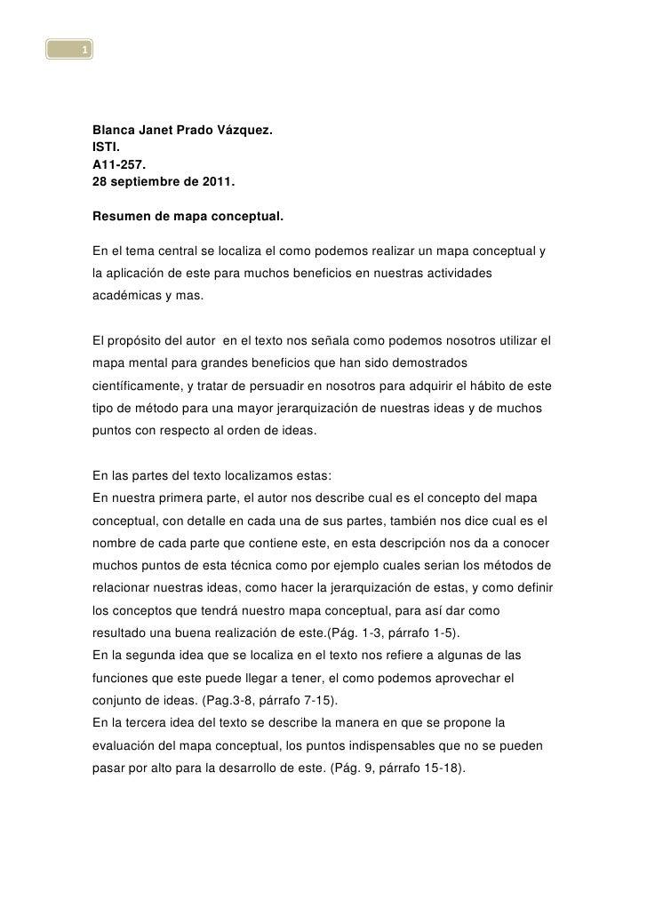 Blanca Janet Prado Vázquez.<br />ISTI.<br />A11-257.<br />28 septiembre de 2011.<br />Resumen de mapa conceptual.<br />En ...