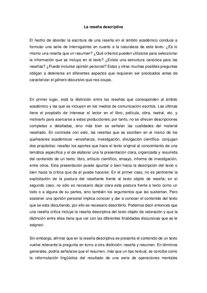 Reseña descriptiva goria bernal- guia de escritura