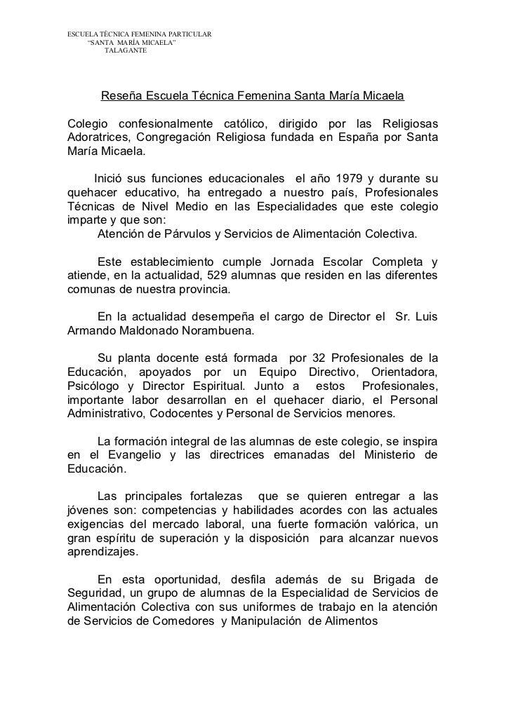 """ESCUELA TÉCNICA FEMENINA PARTICULAR     """"SANTA MARÍA MICAELA""""         TALAGANTE        Reseña Escuela Técnica Femenina San..."""