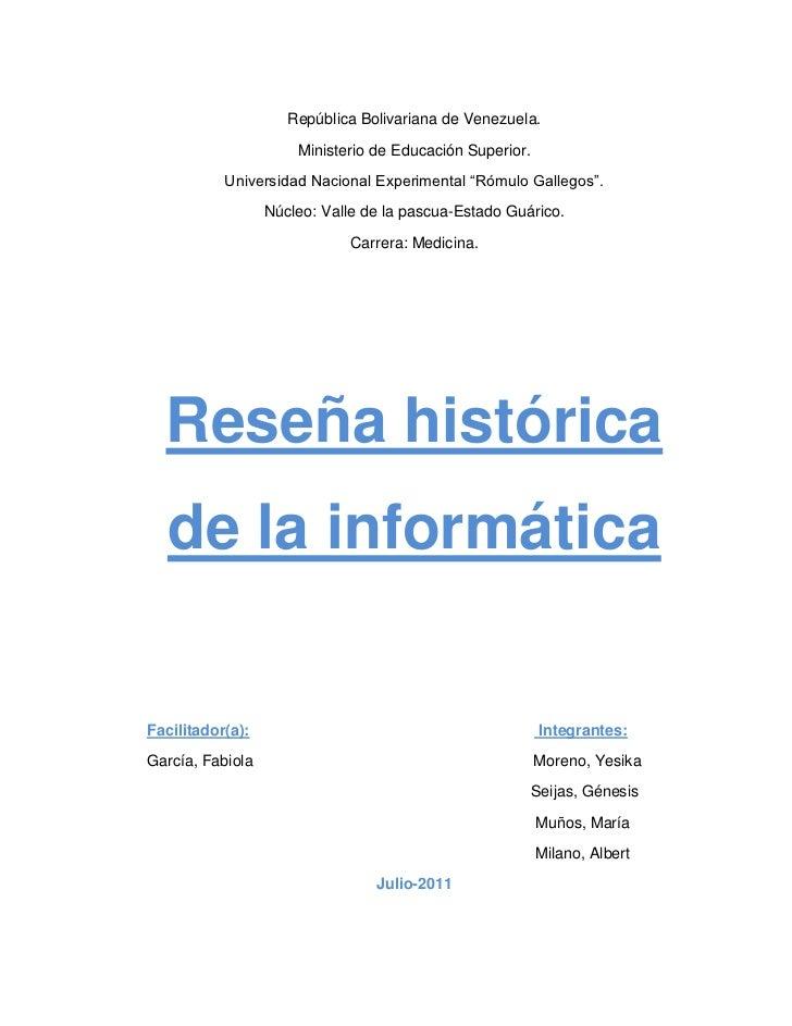 República Bolivariana de Venezuela.                      Ministerio de Educación Superior.           Universidad Nacional ...