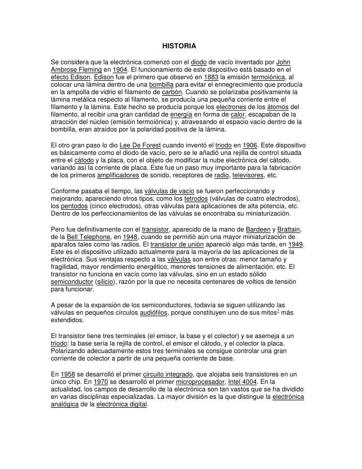 ReseñA Historica De La Electronica