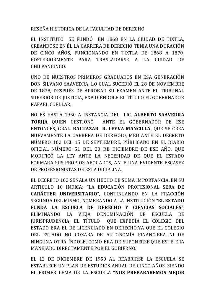 RESEÑA HISTORICA DE LA FACULTAD DE DERECHOEL INSTITUTO SE FUNDÓ EN 1868 EN LA CIUDAD DE TIXTLA,CREANDOSE EN ÉL LA CARRERA ...