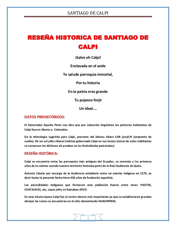SANTIAGO DE CALPI  RESEÑA HISTORICA DE SANTIAGO DE                                          CALPI                         ...