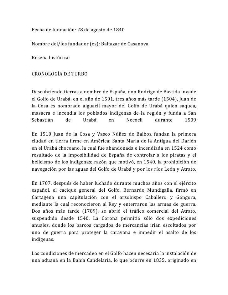 Fecha de fundación: 28 de agosto de 1840Nombre del/los fundador (es): Baltazar de CasanovaReseña histórica:CRONOLOGÍA DE T...