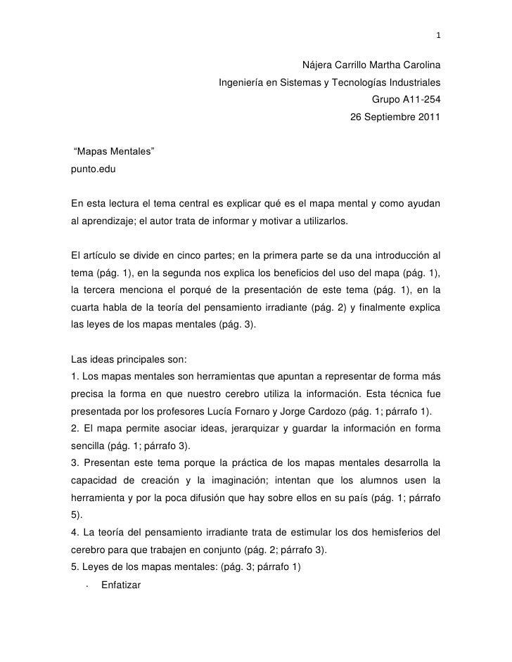Nájera Carrillo Martha Carolina<br />Ingeniería en Sistemas y Tecnologías Industriales<br />Grupo A11-254<br />26 Septiemb...