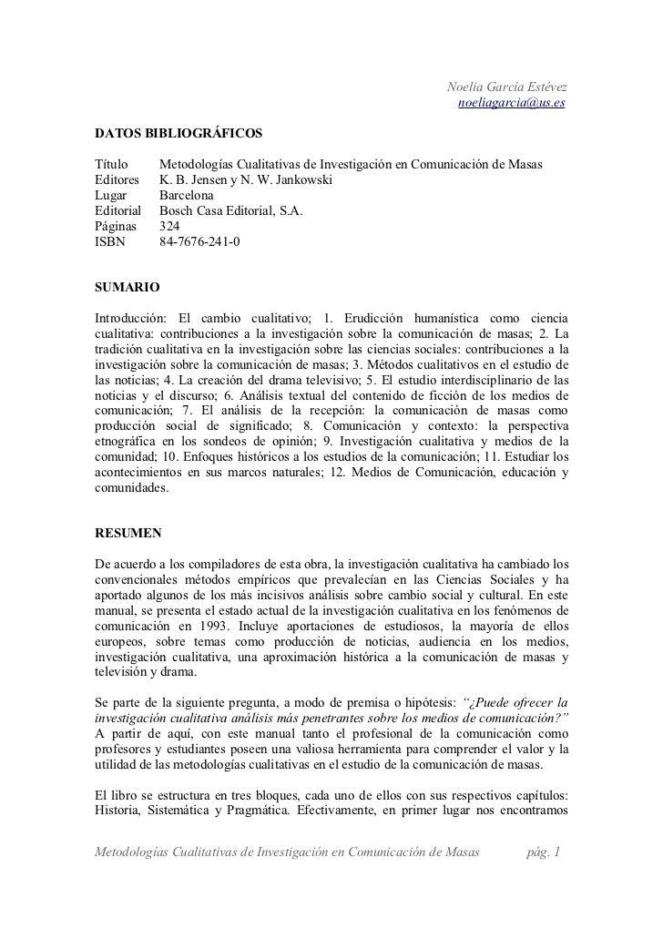 Reseña Metodologías Cualitativas de Investigación en Comunicación de Masas