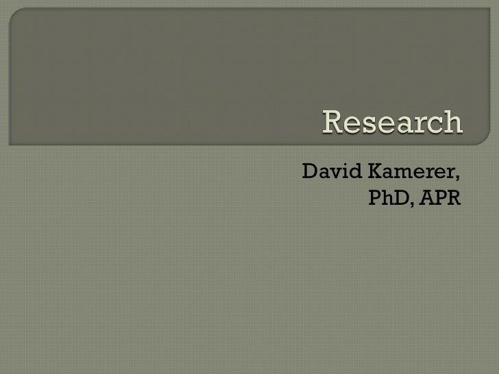 David Kamerer, PhD, APR