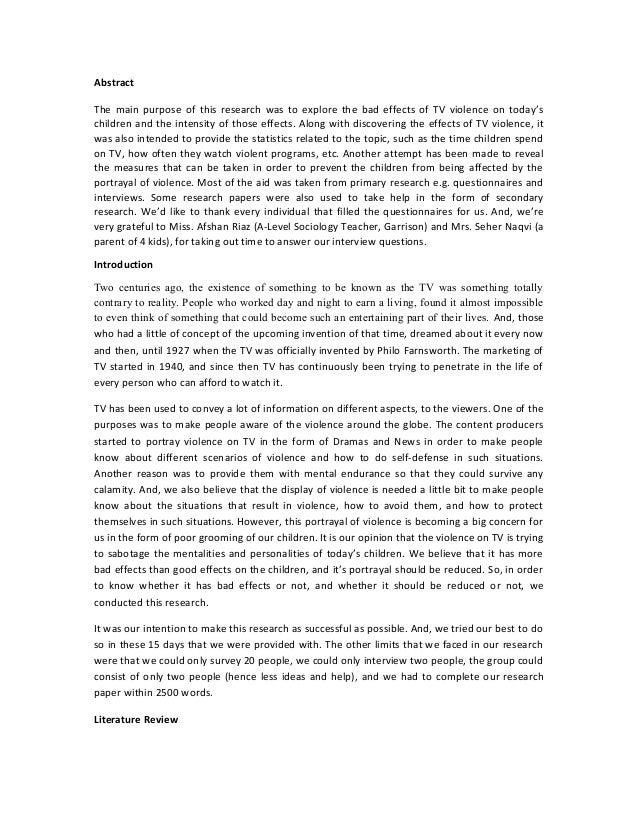 essay on effect of tv on children