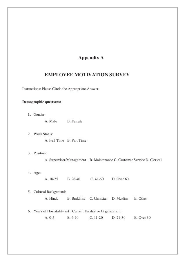 employee motivation research proposal