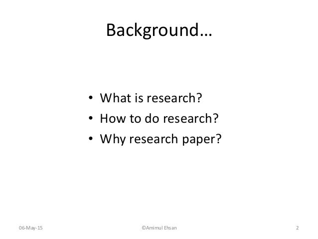 How to write a background research paper