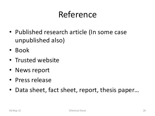 How to write references for a research paper