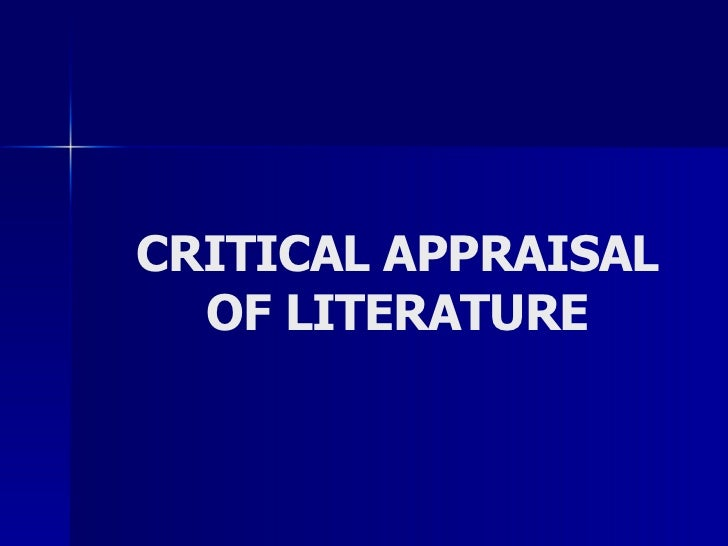 Research Methods 2   Critical Appraisal Of Literature