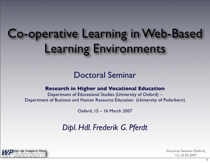 Co-operative Learning in Web-Based      Learning Environments                                        Doctoral Seminar     ...