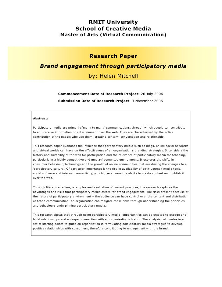 Research paper - Brand engagement through participatory media