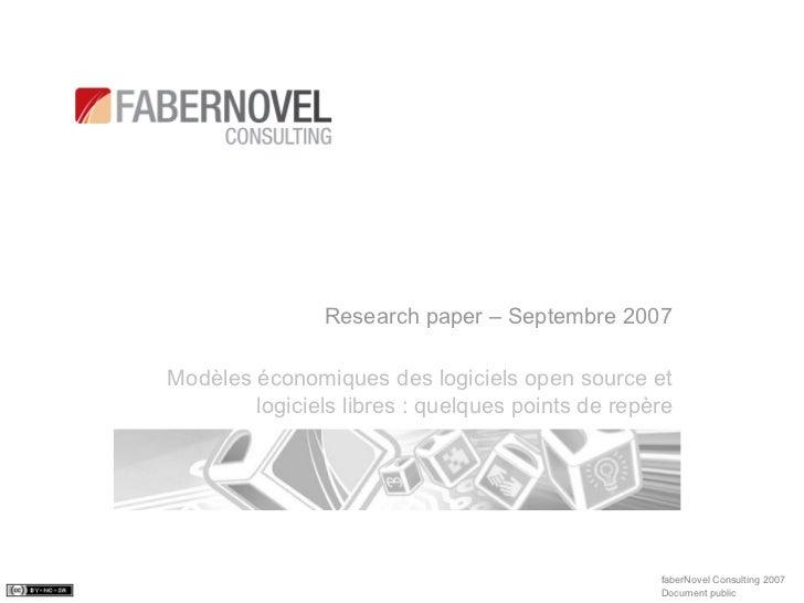 Research Paper-Les Business Models de l'Open Source, faberNovel Consulting