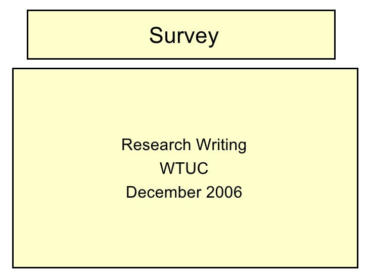 Research Writing Survey