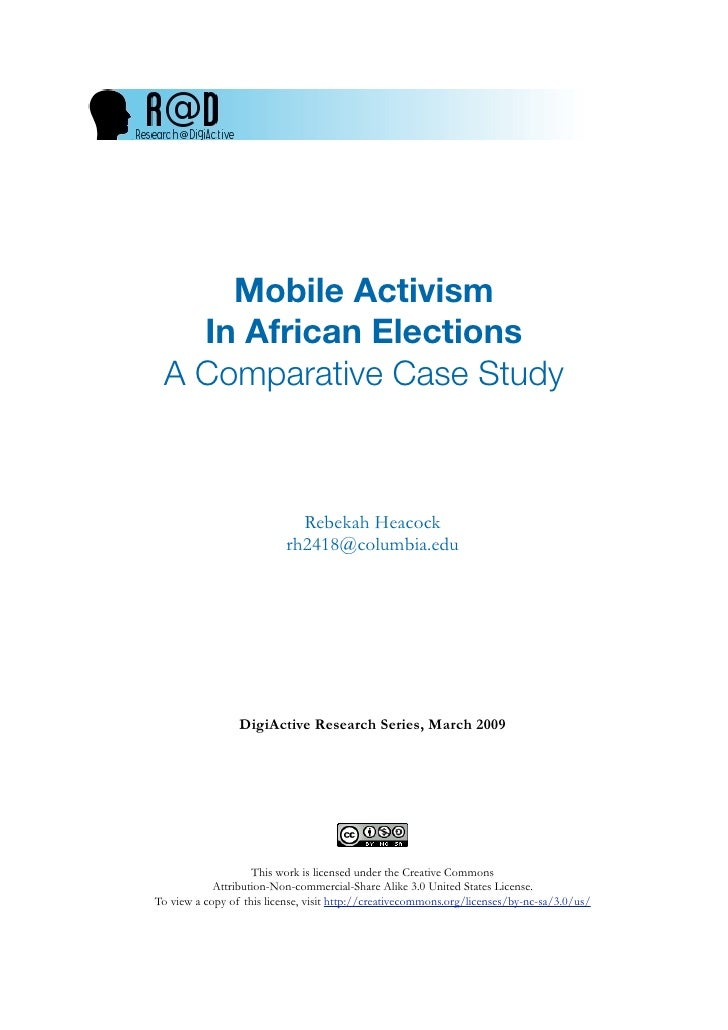 R@D 2 - Mobile Activism in African Elections - a Comparative Case Study