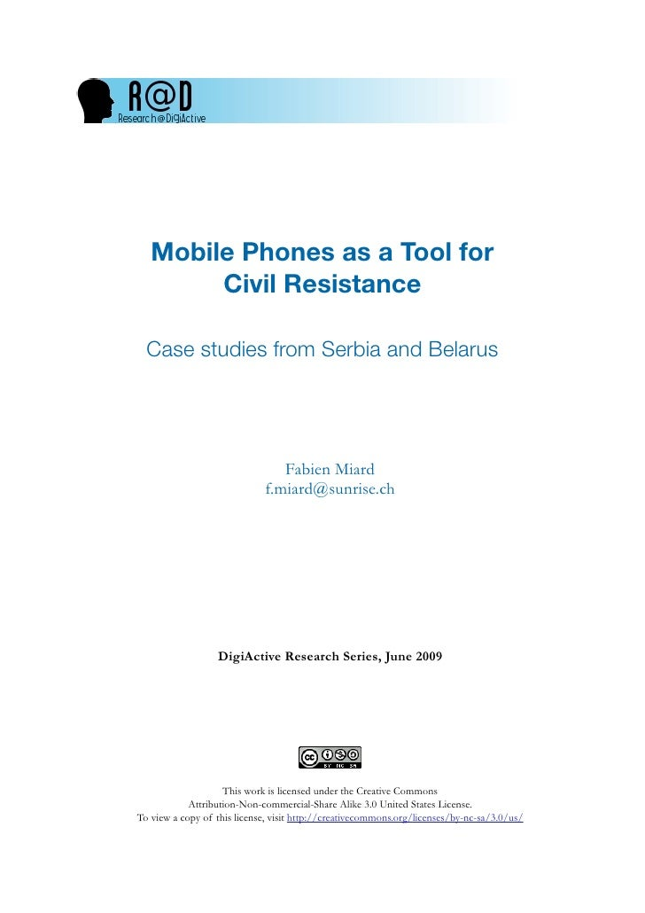 Mobile Phones as a Tool for         Civil Resistance    Case studies from Serbia and Belarus                              ...