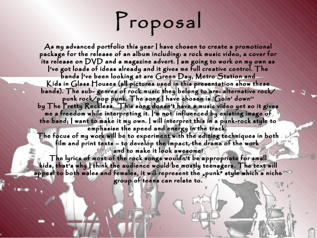 Proposal As my advanced portfolio this year I have chosen to create a promotional package for the release of an album incl...