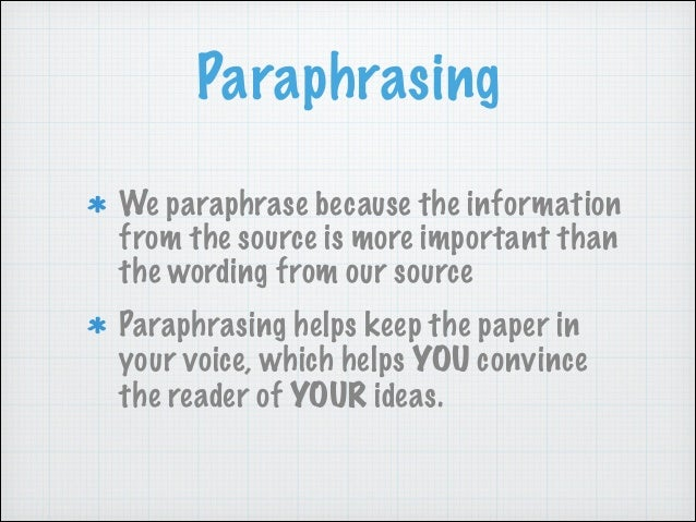 to paraphrase in an essay