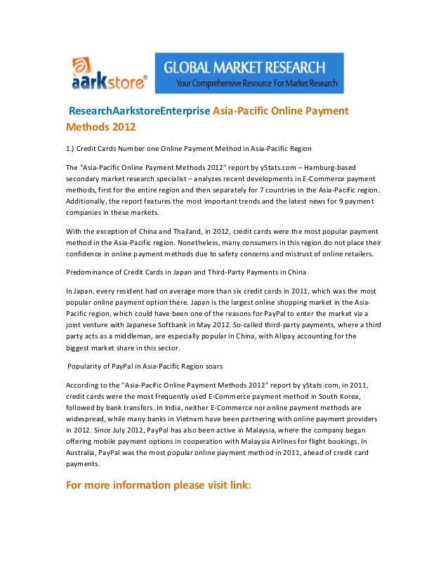 Research aarkstoreenterprise asia pacific online payment methods 2012