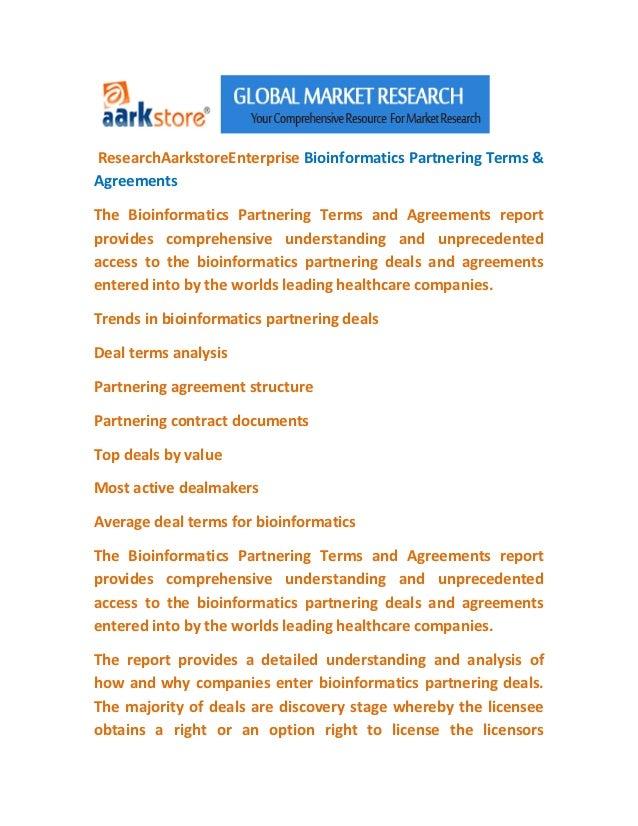 ResearchAarkstoreEnterprise Bioinformatics Partnering Terms &AgreementsThe Bioinformatics Partnering Terms and Agreements ...