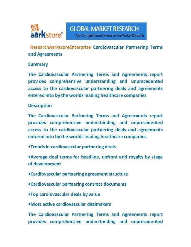 ResearchAarkstoreEnterprise Cardiovascular Partnering Termsand AgreementsSummaryThe Cardiovascular Partnering Terms and Ag...