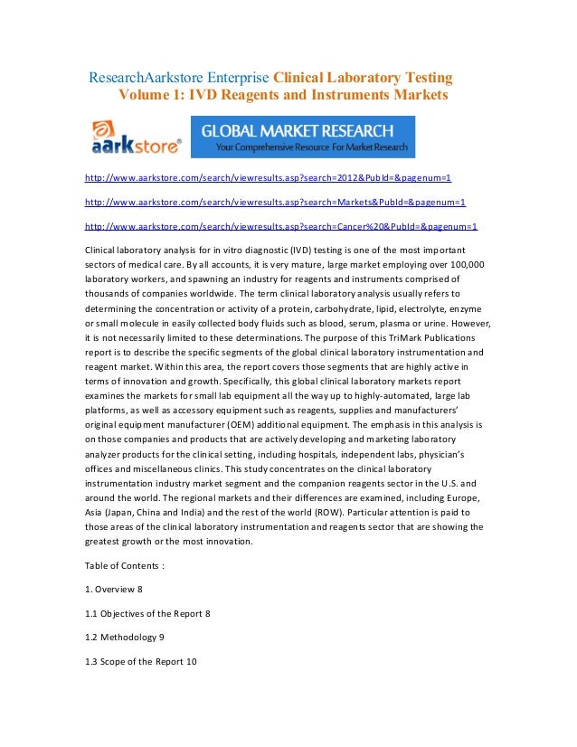 Research aarkstore enterprise clinical laboratory testing volume 1  ivd reagents and instruments markets