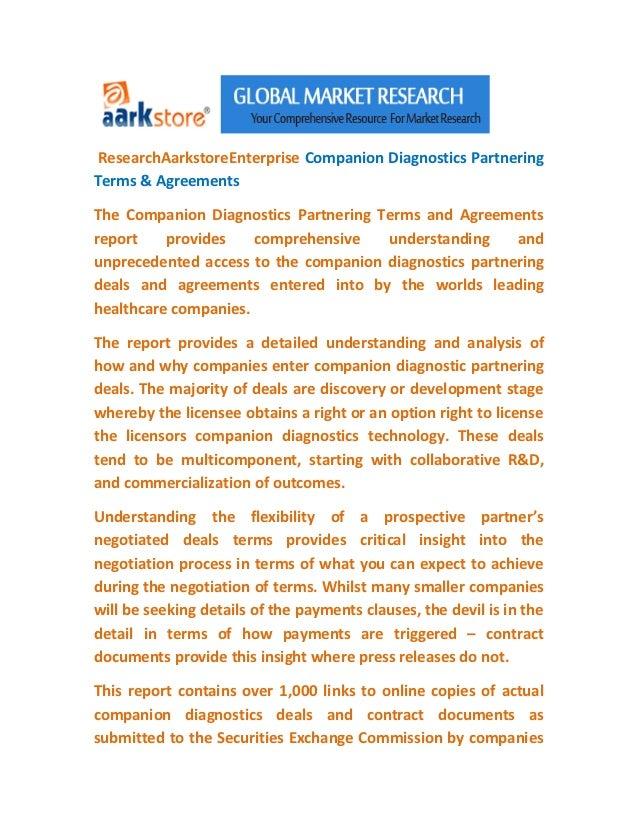 ResearchAarkstoreEnterprise Companion Diagnostics PartneringTerms & AgreementsThe Companion Diagnostics Partnering Terms a...