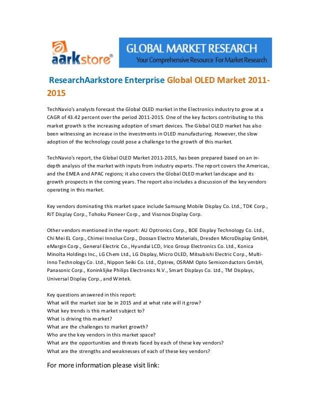 Research aarkstore enterprise global oled market 2011 2015  3