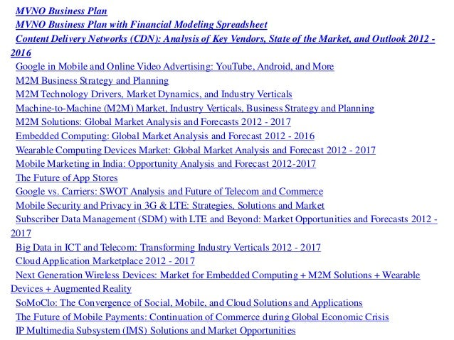 mvno business plan with financial modeling