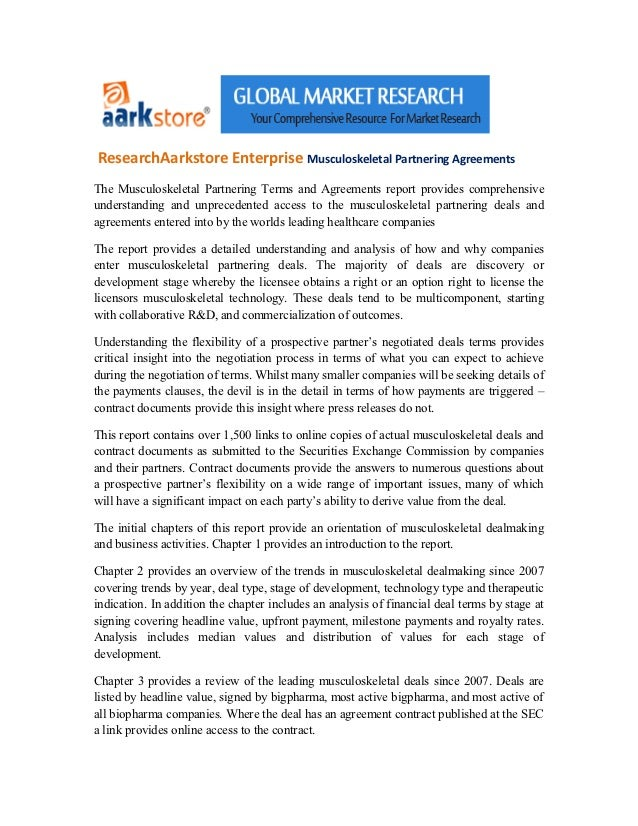 Research aarkstore enterprise musculoskeletal partnering agreements