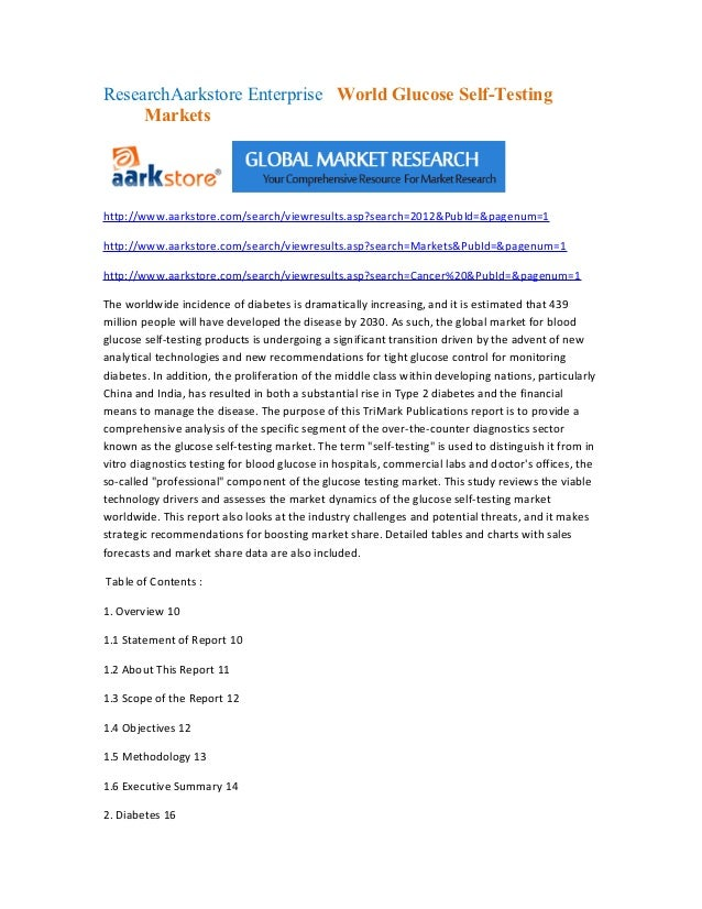 Research aarkstore enterprise   world glucose self testing markets