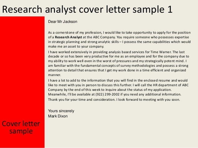 Clinical research analyst cover letter