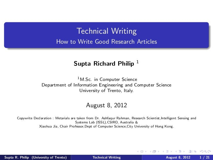 Technical Writing                               How to Write Good Research Articles                                       ...