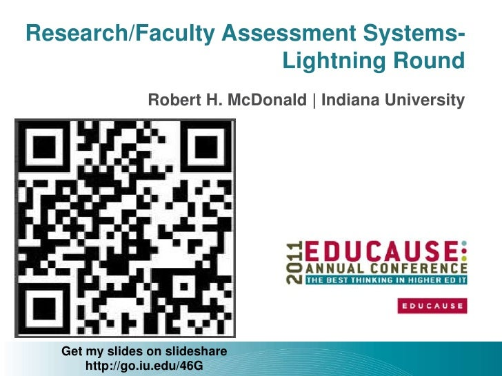 Research/Faculty Assessment Systems-                     Lightning Round                Robert H. McDonald | Indiana Unive...