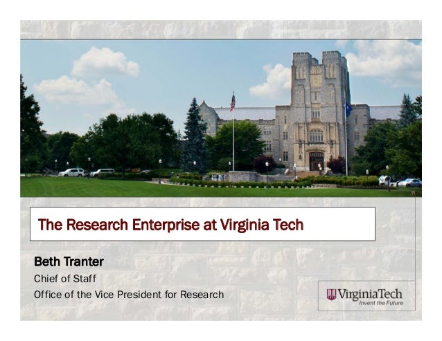 The Research Enterprise at Virginia Tech Beth Tranter Chief of Staff Office of the Vice President for Research