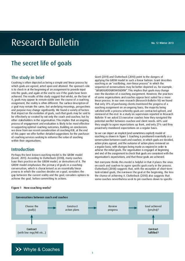 1 Research Bulletin No. 12 Winter 2013 The secret life of goals The study in brief Coaching is often depicted as being a s...