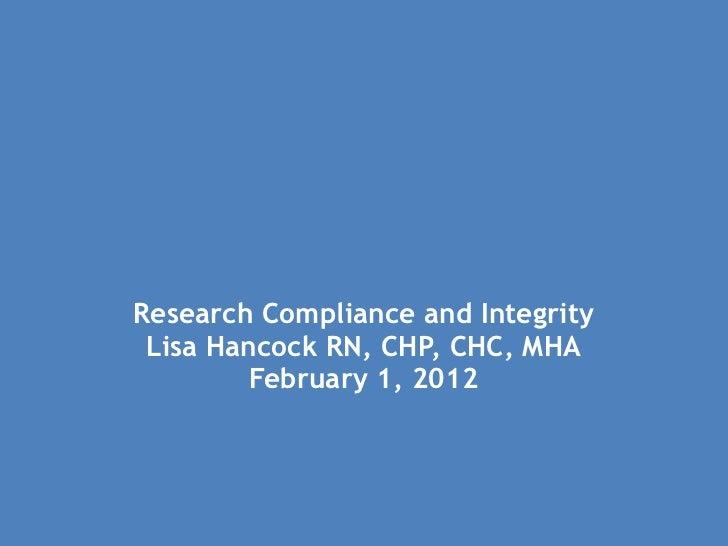 Research Compliance Presentation 020112