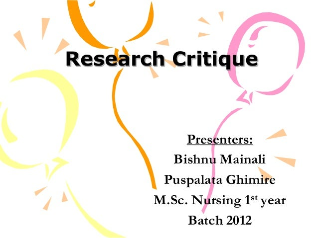 nursing research critique paper