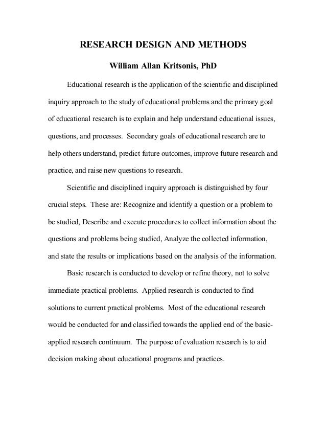 RESEARCH DESIGN AND METHODSWilliam Allan Kritsonis, PhDEducational research is the application of the scientific and disci...