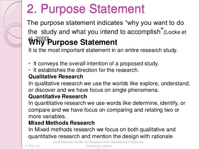 dissertation develop purpose statement