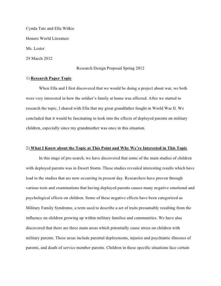 Cynda Tate and Ella WilkieHonors World LiteratureMs. Lester29 March 2012                             Research Design Propo...