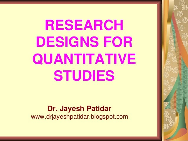 Types of quantitative research designs ppt